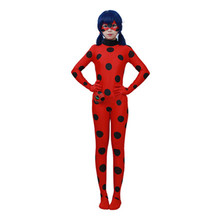 Ladybug Girl Costume Miraculous Kids Marinette Cartoon Cosplay Second Skin Turtleneck Unitard Halloween Party Tight Suit