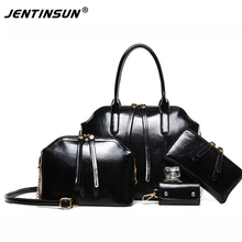 2017 New Arrival Rushed Hollow Out Zipper Women Shoulder Messenger Portable Leather Handbag Bags Tote for Bag Four Piece Suit