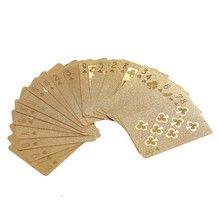 4K Carat Gold Foil Plated Poker Game Playing Cards Gift Collection And Certificate Playing Cards(China)