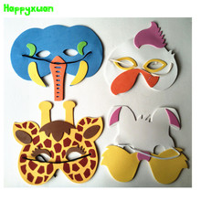 Happyxuan 10pcs/lot Cartoon Animal EVA Foam Mask Kids Christmas Halloween Birthday Party New Year Toys Children(China)