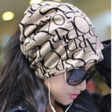 Newest Fashion Korean Women Classic Hip-Hop English Letter Multi Purpose Baggy Hat Unisex Scarf Beanie Spring Hat