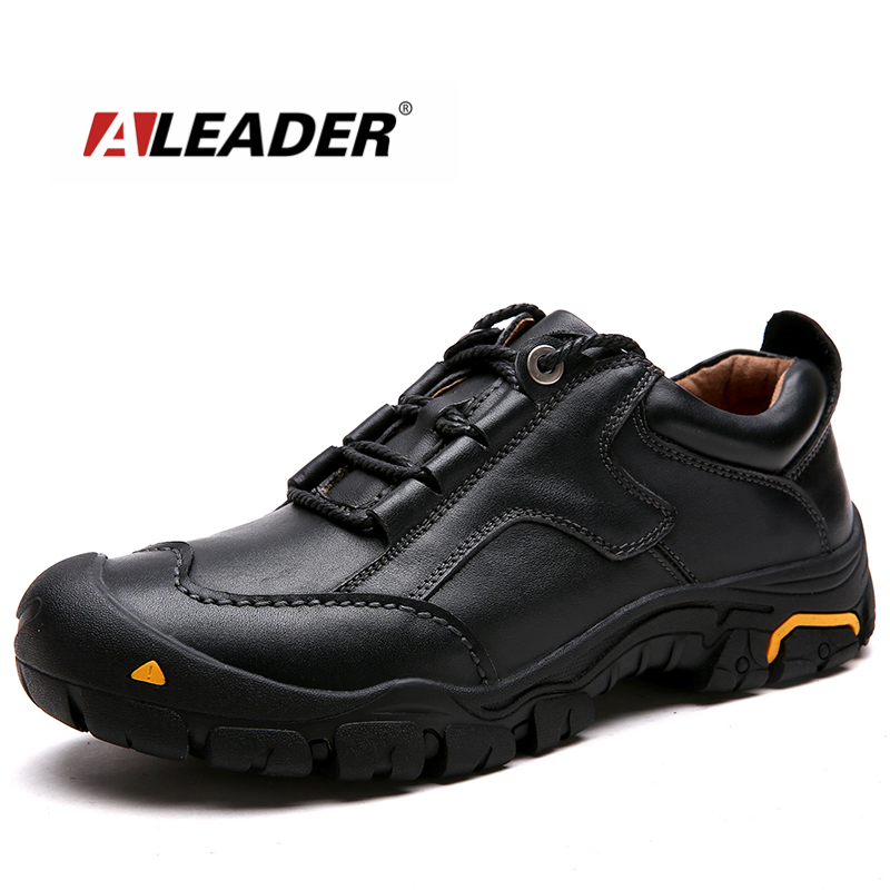 ALEADER Durable Mens Safety Shoes Genuine Leather Oxford Shoes Waterproof Casual Shoes For Men Comfortable Work Sneakers Male<br>