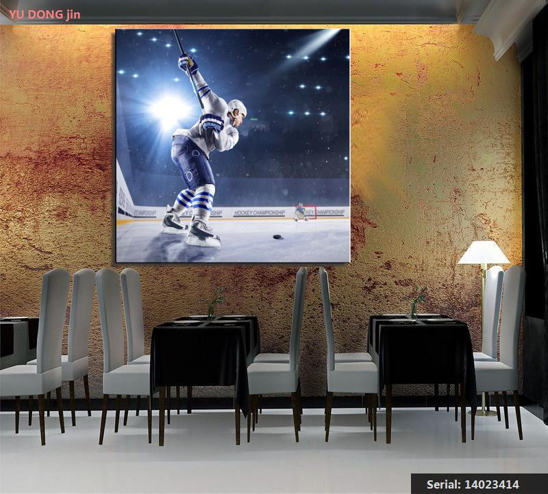 Hockey Men Uniform Helmet Rays of light Ice rink Portrait Classical oil Painting Drawing art Spray Unframed Canvas14023414(China (Mainland))
