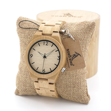 BOBO BIRD Mens Wooden Bamboo Watch Japanese Movement Quartz Watch with Luminous Hands with Full Bamboo Band in Gift Box