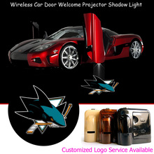 2x Wireless Car Door Step Courtesy Welcome Sharks Logo Laser Projector Ghost Shadow LED Lights #A2112