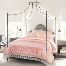 4/6Pcs Silk Cotton Lace Palace Royal Luxury Wedding Bedding set King Queen size   Pink Bed set Duvet cover Bedsheet Pillowcase