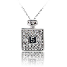 2016 New Rhinestone Necklace Pendant Perfume Bottle Necklace Women Fine Jewelry Accesoires