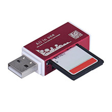 Malloom 2017 Universal Metal USB 2.0 All In 1 Multi SD TF Memory Card Reader for PC Computer Mobile phone High quality Red
