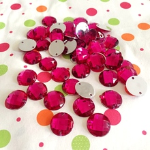 DIY 25 pieces/lot 14mm magenta acrylic hand sewn cut and pasted wedding garment decoration double hole drill(China)