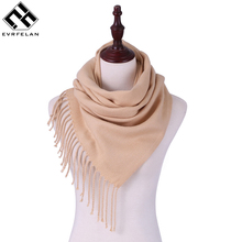 Evrfelan Brand Scarf Women Lady Winter Scarves Solid Tassel Comfortable Elegant Lengthened Neckerchief Shawls Scarf(China)