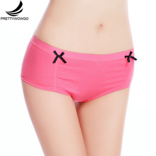 89007 Prettywowgo Factory Whoesale New 2017 Boyshort 6 Solid Color Women Cotton Panties(China)