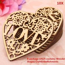 10pcs/set  Lasers Cut Decorative Hollow Out Love Heart Shapes Craft Wooden Ornaments New Home Decor