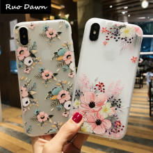 Ruo Dawn Fashion Flower TPU For iphone X 6 6S 7 8 Plus Scrub Phone Cases Soft Silicone Cartoon Lion Mobile Back Cover(China)