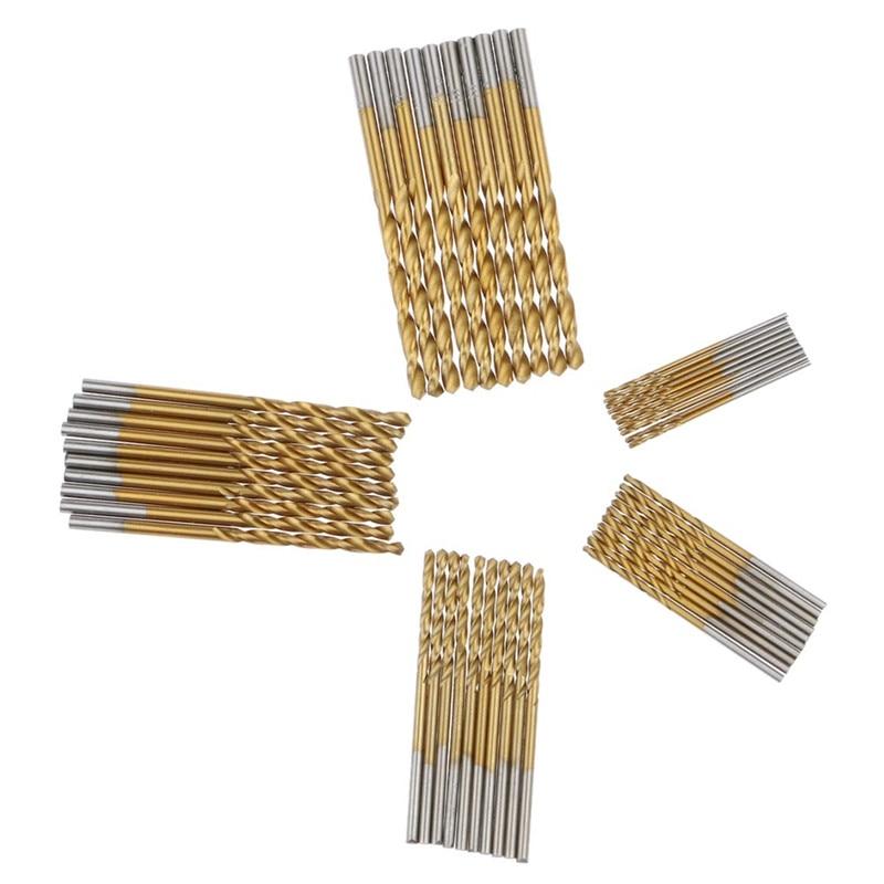 50Pcs//Set Titanium Coated HSS High Speed Steel Drill Bit Tool 1//1.5//2//2.5//3mm