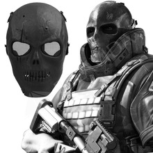 1Pc Skull Skeleton Airsoft Paintball BB Gun Full Face Protect Mask Shot Helmets Foam padded inside Black eye shield Full Cover(China)