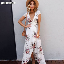 Buy plus size Boho floral print chiffon split long dress Women clothes beach summer v neck sexy dress Eleagnt sash wrap maxi dresses for $14.28 in AliExpress store