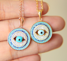 promotion 100% 925 sterling silver multi color blue eye fashion turkish jewelry gold color women turquoises necklace