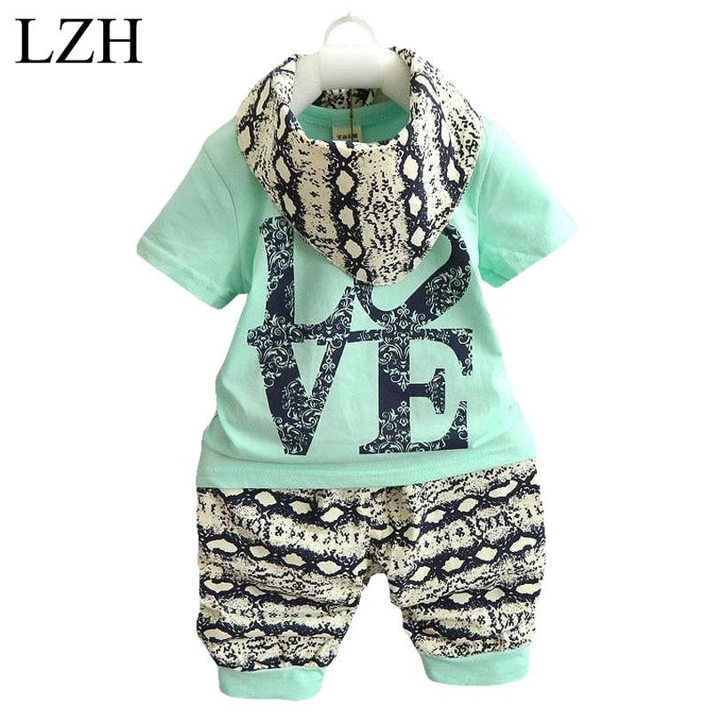 LZH 2017 Summer Infant Clothing Sets Cotton Baby Boys Girls 3pcs Outfit Suit (T-shirt+Pants+Scarf) Newborn Baby Boys Clothes Set<br><br>Aliexpress