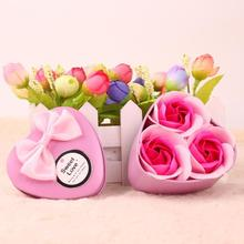 3Pcs Heart Soap Rose Flower Gift Box Christmas Wedding Valentine'S Day Mother's day Day Birthday Souvenir 3