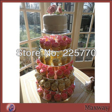 Clear 6 Tier Maypole Acrylic Cupcake Stand, Plexiglass Cupcake Display, Perspex Cupcake Tower party decoration