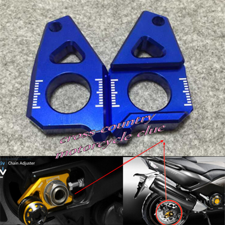 Motorcycle CNC Rear Axle Spindle Chain Adjuster Blocks Fit for Yamaha TMAX 530 500 FZ8 FZ1 YZF R1  blue<br><br>Aliexpress