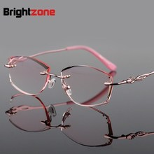 Presbyopic Astigmatism Customized Glasses Diamonds Cutting Finished Rimless Presbyopic Reading Glasses Fashion Frame Eye Glasses(China)