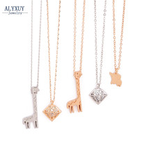 New fashion jewelry Elephant giraffe love pendant necklace gift for women girl N1738(China)