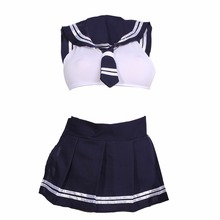 Women Lingerie Babydoll Dress Cosplay School Girl Student Uniform Sex Erotic Costumes Sailor Collar Crop Top Mini Skirt G-String(China)