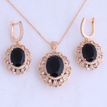 Excellent Black Imitation Onyx & Cubic Zirconia Oval Yellow Gold Color Drop Earring / Pendant Jewelry Sets for Women X0034