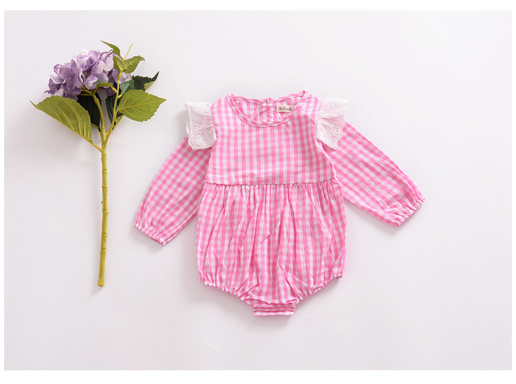 Autumn Baby Rompers Kids Cotton Climbing Suit Newborn Japan& Korean Style Jumpsuit Infant Plaid Lace Long Sleeve Rompers Clothes