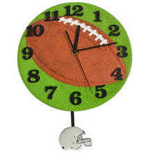 Rugby Design Wall Clock Football Pendulum Clock Decorative Wall Clocks Kids Room Decoration Birthday Party Decoration(China)