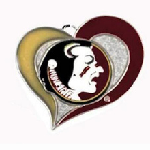 Florida State Seminoles College sports team logo swirl heart charm Sport Jewelry Fans collection(China)