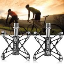3 Colors 2PCS CNC 3 Bearings Bicycle Pedals Ultralight Mountain Bike Pedal Road Cycling Magnesium Flat Pedals Terrain Titanium