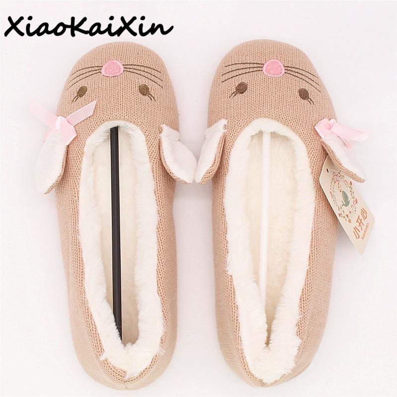 Ladies Ballet Style House Slippers Winter Women Warm Soft Cotton Home Shoes Cute Khaki Mouse Style Bowtie Plush Yoga Dance Shoes