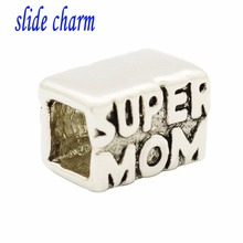 slide charm Free shipping Mother's Day gift new market square mother amulet charm beads fit Pandora bracelet(China)