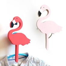 1 PC Cute flamingos wooden clothes hook for kids baby wall decorate children room bird hanger hook room decoration flamingos 35