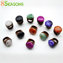 8SEASONS Fashion Wood Rings Women Men New Design Colorful Nartural Created Gem Stone Rings Jewelry US Size 7, 1 Piece(China)