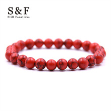 Red Beads Bracelet Beads Bracelets For Women Pulseira Masculina Men Jewelry Feminina Bileklik Elastic Braclet Bijoux Wristband(China)