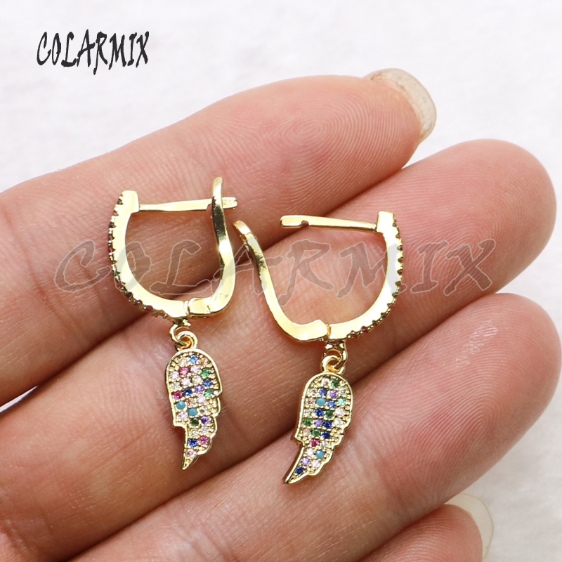5 Pairs Wings earrings angels wings dangle earrings tiny charm earrings rainbow zircon crystal accessories for women 5489