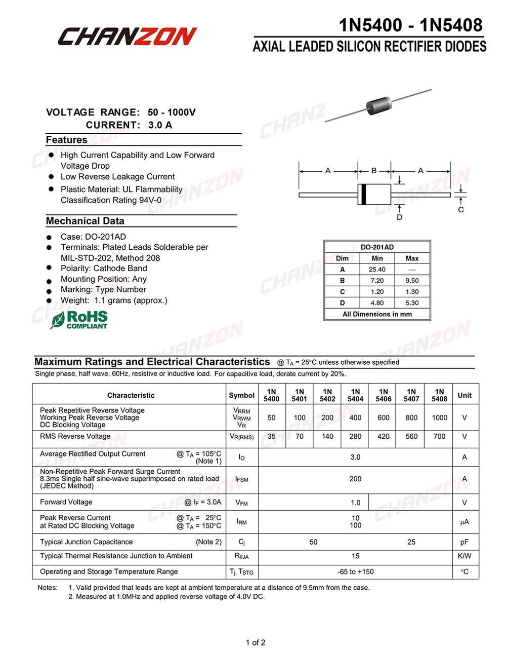 50 PCS 1N5406 Diode 3 Amp 600 Volt 3A 600V Brand NEW 5406