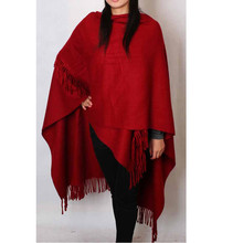 Fashion Burgundy Women's 100% Wool Pashmina Scarf Winter Thick Cashmere Shawl Tassels Cape Poncho Solid Color 180*72cm