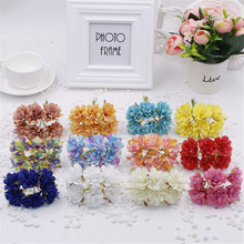6pcs/lot 12colors Silk Cherry Blossoms Small Artificial Poppy Bouquet DIY Scrapbooking Wedding Decoration Mini Rose Flowers