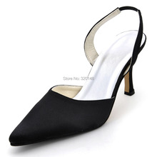 EP11002 Black Satin Pointed Toe Slingback High Heel Women Wedding Sandals Evening Party Prom Pumps Bride Bridesmaids Bridal Shoe(China)