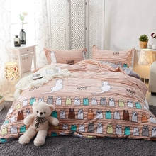 Cartoon Cats Duvet Cover Set Queen King Size Stripes Fleece Fabric Bedding Sets For Adults Twin Queen King Size Bedding Set(China)