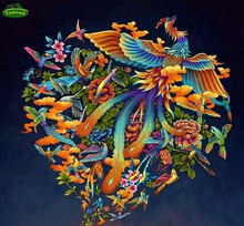 5D Diy Diamond Painting Cross Stitch Colorful Phoenix Pattern Rhinestones Mosaic Full Drill Embroidery Cross Peacocks Animals(China)