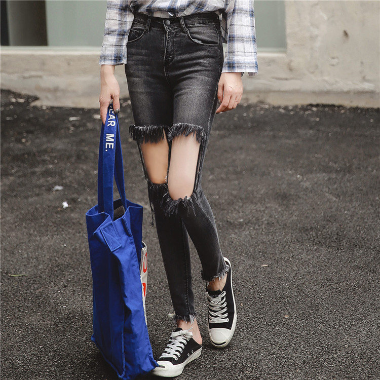 plus size denim jeans pants women spring autumn 2017 bermuda feminina fashion hole sexy high waist denim pants female A1241Одежда и ак�е��уары<br><br><br>Aliexpress
