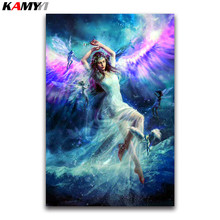 angel wings Full square Diamond painting Cross stitch beauty full round Diamond mosaic Cartoon girl DIY Diamond embroidery fairy(China)