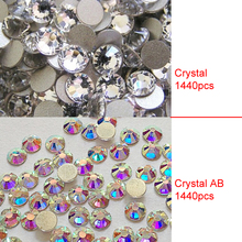Clear AB Crystal SS3 1440pcs Nails Decoration Nial Art Non Hot Fix Sparkals Glitter Clear Rhinestones For Eye Makeup Design