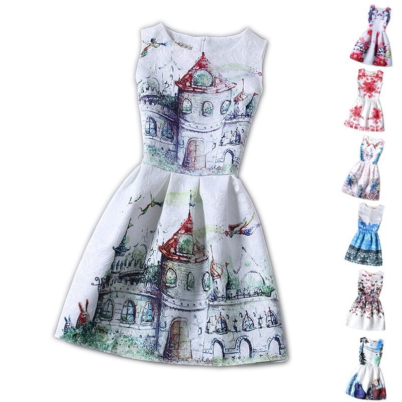 Casual New Girls Clothes Character Belted Print Dresses For Kids Girls Summer Sleeveless Cartoon Dress 12 Years Birthday Party<br><br>Aliexpress