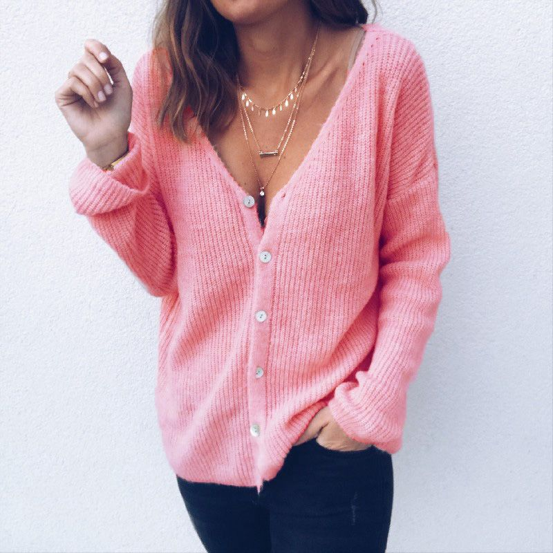 dc5f8ed4a 2019 Women Both Sides Wearing V Neck Long Sleeve Solid Button Sweet ...